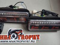 Подфарники 2121*,Lada 4х4 Urban светодиодные с ДХО красные